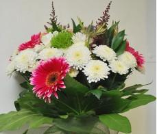 Buchet gerbera, crizantema, santini, astilbe